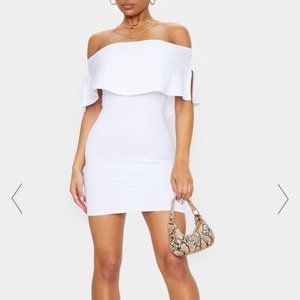 PrettyLittleThing White Off-Shoulder Bodycon Dress